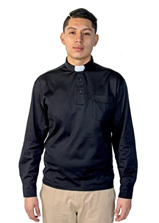 1d403ca580 Mercy Robes Mens Cotton Clergy Polo Long Sleeve Tab Shirt (Black) at ...