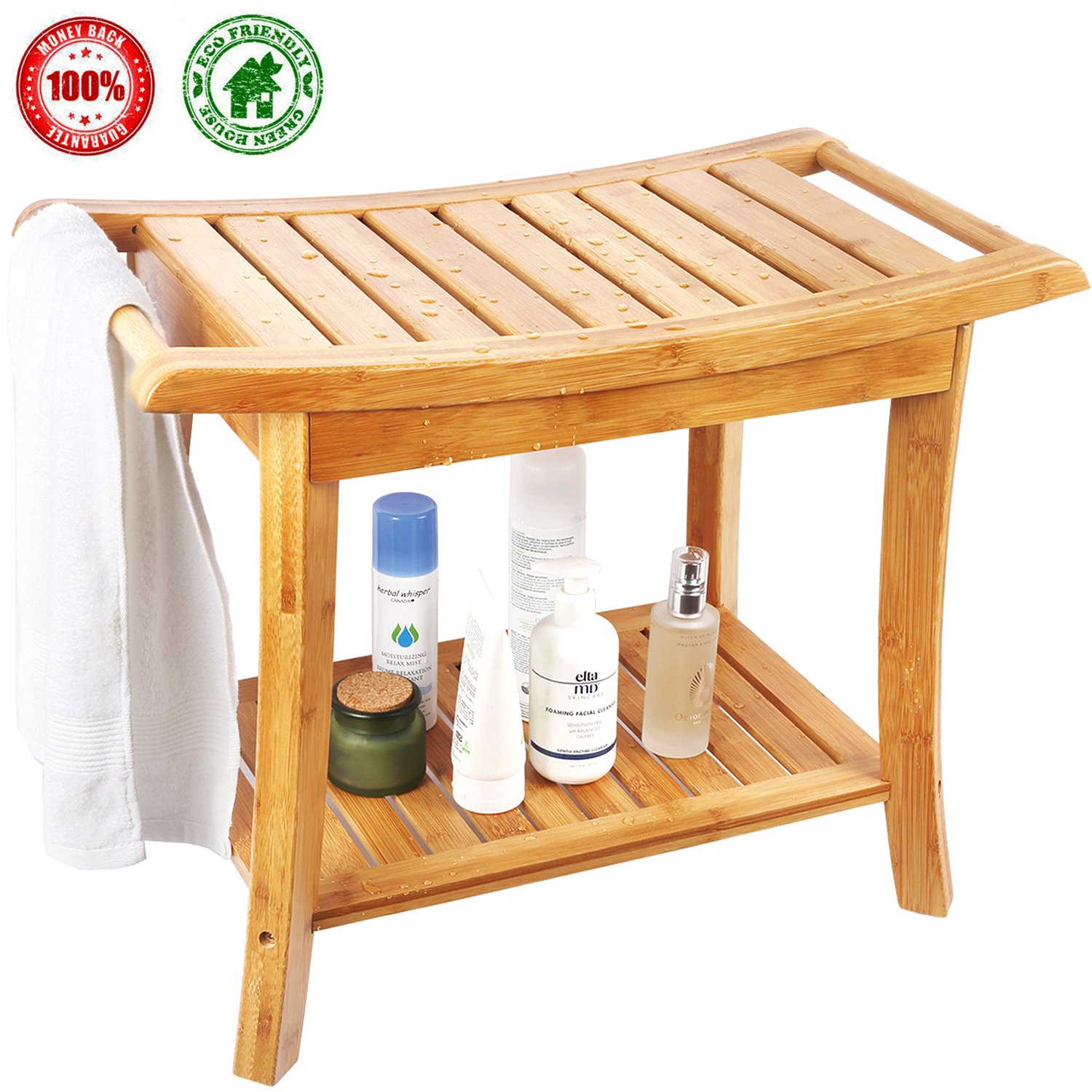 Shower Bench Spa Seat With 2-Tire Storage Racks Shelf Durable and Stable Indoor u0026Outdoor Bench with 100% Bamboo Nice Curving Bench- by HERDZI Ecobambu  sc 1 st  Weather Instruments Air Purifiers Global fashion! & Shower Bench Spa Seat With 2-Tire Storage Racks Shelf Durable and ...