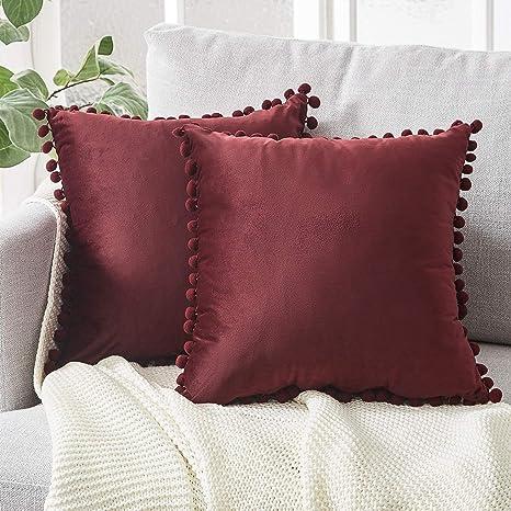 Topfinel juego 2 Hogar cojín terciopelo Decorativa Almohadas Fundas con pelota de color sólido Para Sala de Estar sofás 50x50cm Borgoña