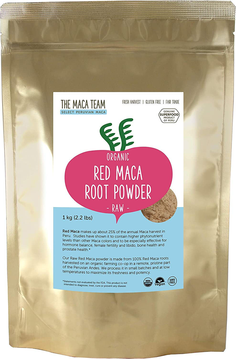 The Maca Team Raw Red Maca Powder, Fair-Trade, GMO-Free Maca from Peru, 2.2 Pounds, 111 Servings