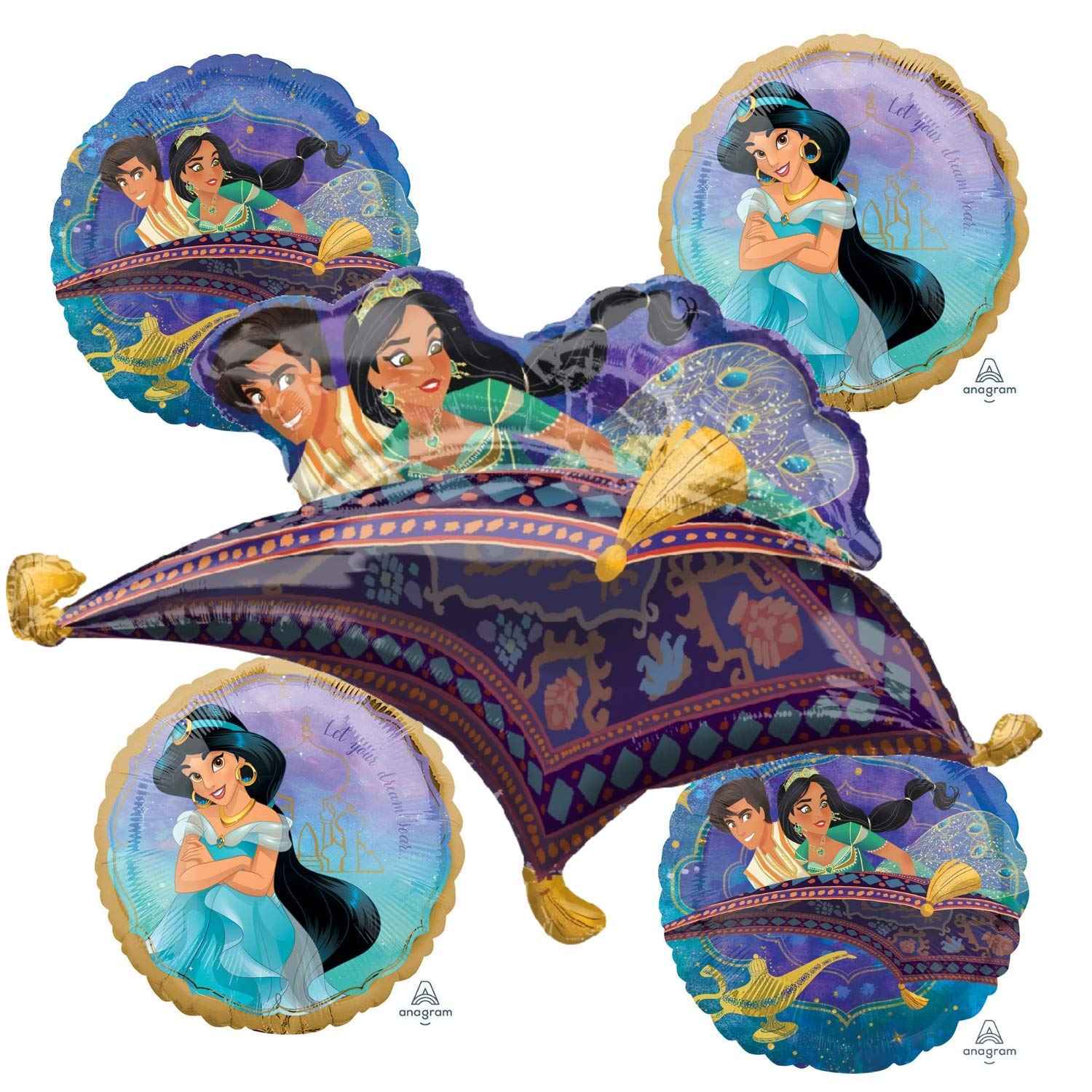 Princess Jasmine Aladdin Balloon Bouquet - Movie Decoration Balloons For A Disney Aladdin Theme Birthday Party. Great Decorations For A Child Or Kids Celebration