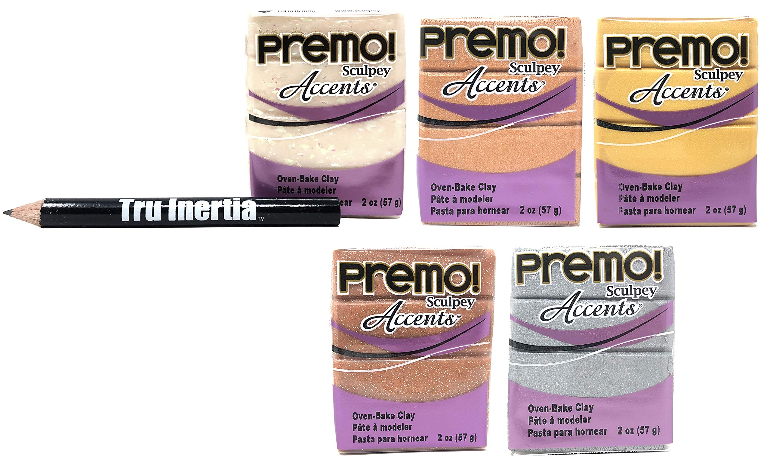 Tru Inertia Sculpey Premo Accents Oven Bake Clay 2 Ounce Variety Pack of 5 - 18K Gold, Copper, Rose Gold Glitter, Opal, Silver Clay Variety Pencil