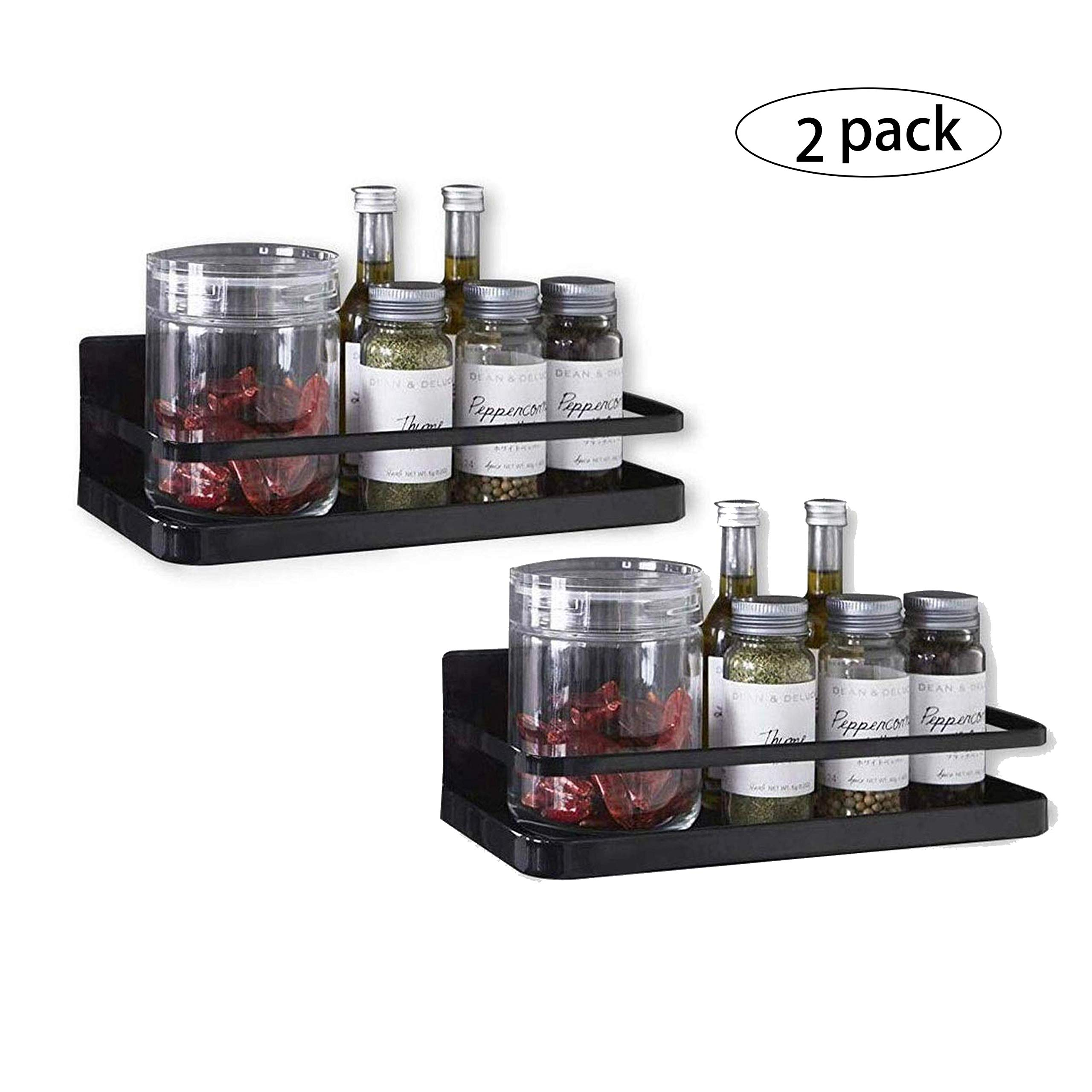 Magnetic Spice Rack Organizer Single Tier Refrigerator Spice Storage Shelf, Easy to Install The Side of The Refrigerator Can Hold spices, Jar of Olive Oil (Black, 2 PACK) by Hoopoton
