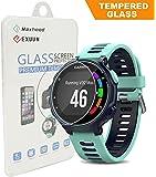 Garmin Forerunner 735XT Tempered Glass Screen Protector, Exuun Premium 9H Hardness 0.3mm Ultra Thin 2.5D Watch Tempered Glass Screen Protector Glass Film for Garmin Forerunner 735XT