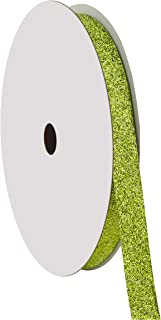 "product image for Offray 813049 5/8"" Wide Sparkle Glitter Craft Ribbon, 50 Yards, Citrus Green"