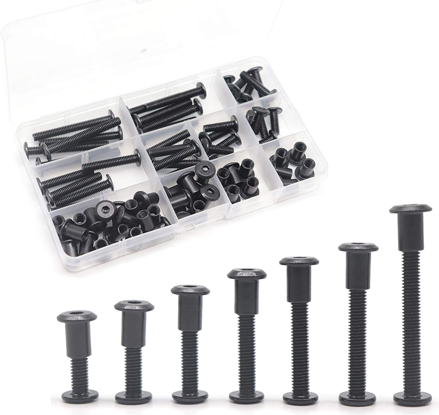Baby Bed Crib Screws Hardware Replacement Kit 10-Set M6x70 mm Hex Socket Head Bolt and Barrel Nuts Assortment Kit