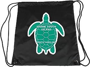 Shark Tooth Island South Carolina Souvenir Cinch Bag with Drawstring Backpack Tote Beach Bag Green Turtle Design
