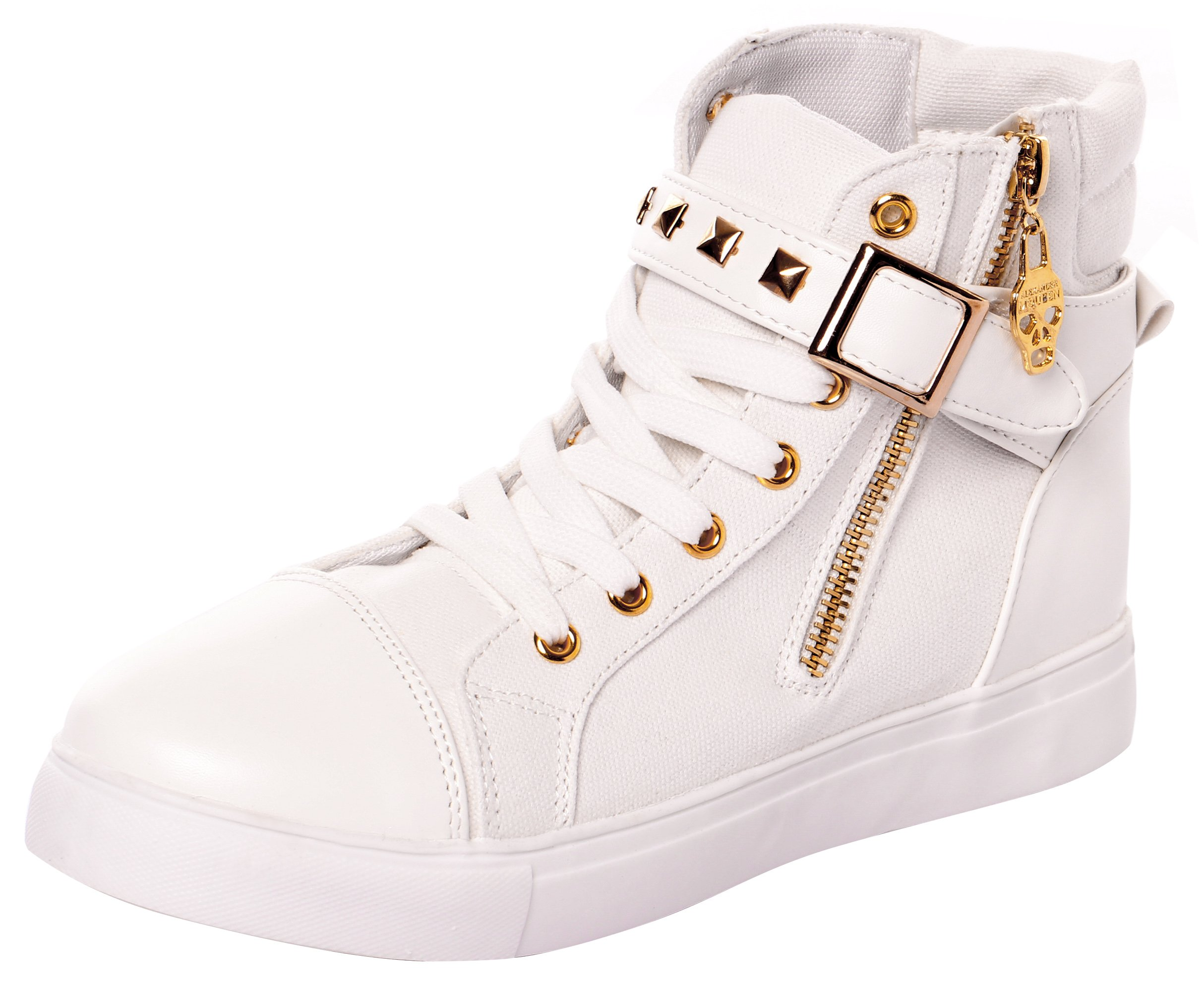 High Top Sneakers for Women and Girls with Lace-up in Canvas and Leather(5.5 B(M) US,White) (5.5 B(M) US, White-1)