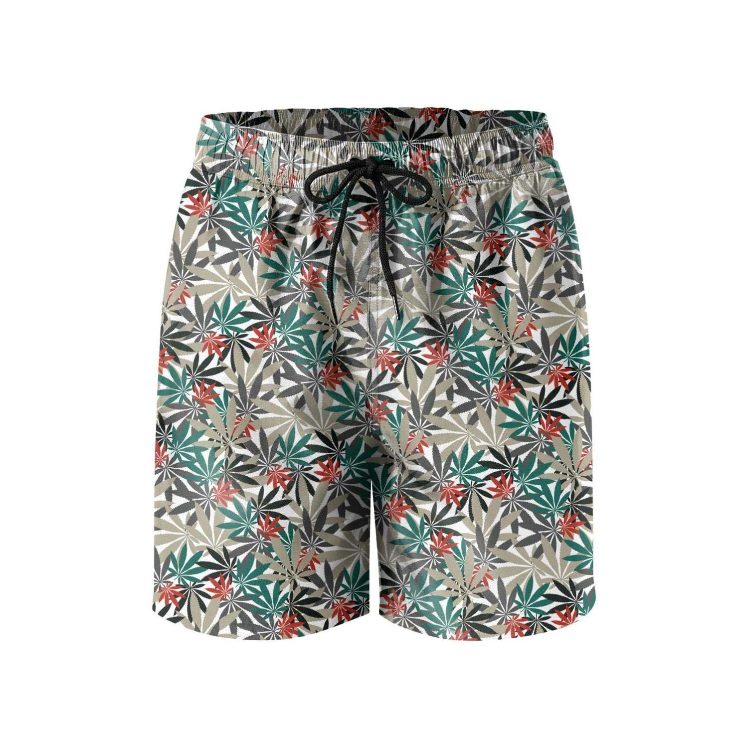 Microfiber Cannabis Chemistry Plant Painting Stretch Board Swimming Trunks Mens Shorts Sporty