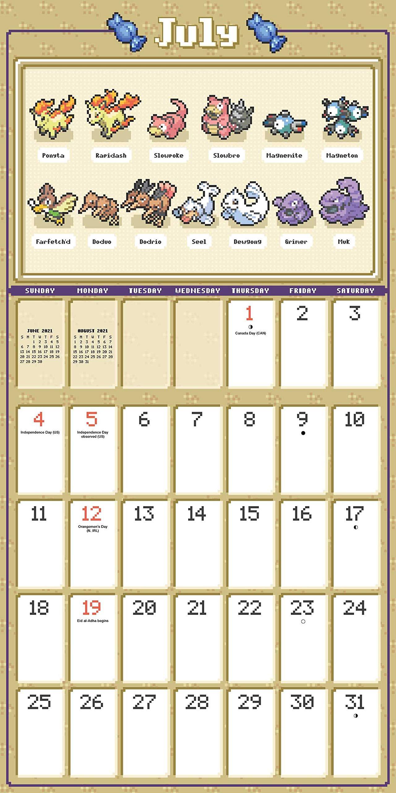 Pokemon Pixel Art 2021 Wall Calendar: Pokémon: 0614234352226