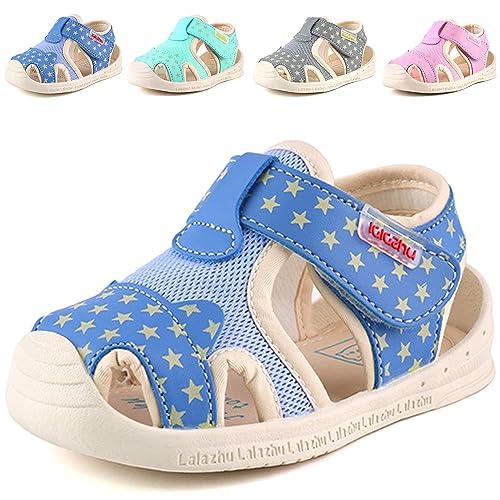 1d6871557441 Moceen Kids Soft Microfiber Leather Sandals Light-Up Toddler Boys Girls Closed  Toe Pre