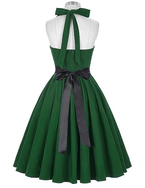 Vestido Verde Osccuro Pin up Años 50 Halter 7# Estilo 4 S: Amazon.es: Ropa y accesorios