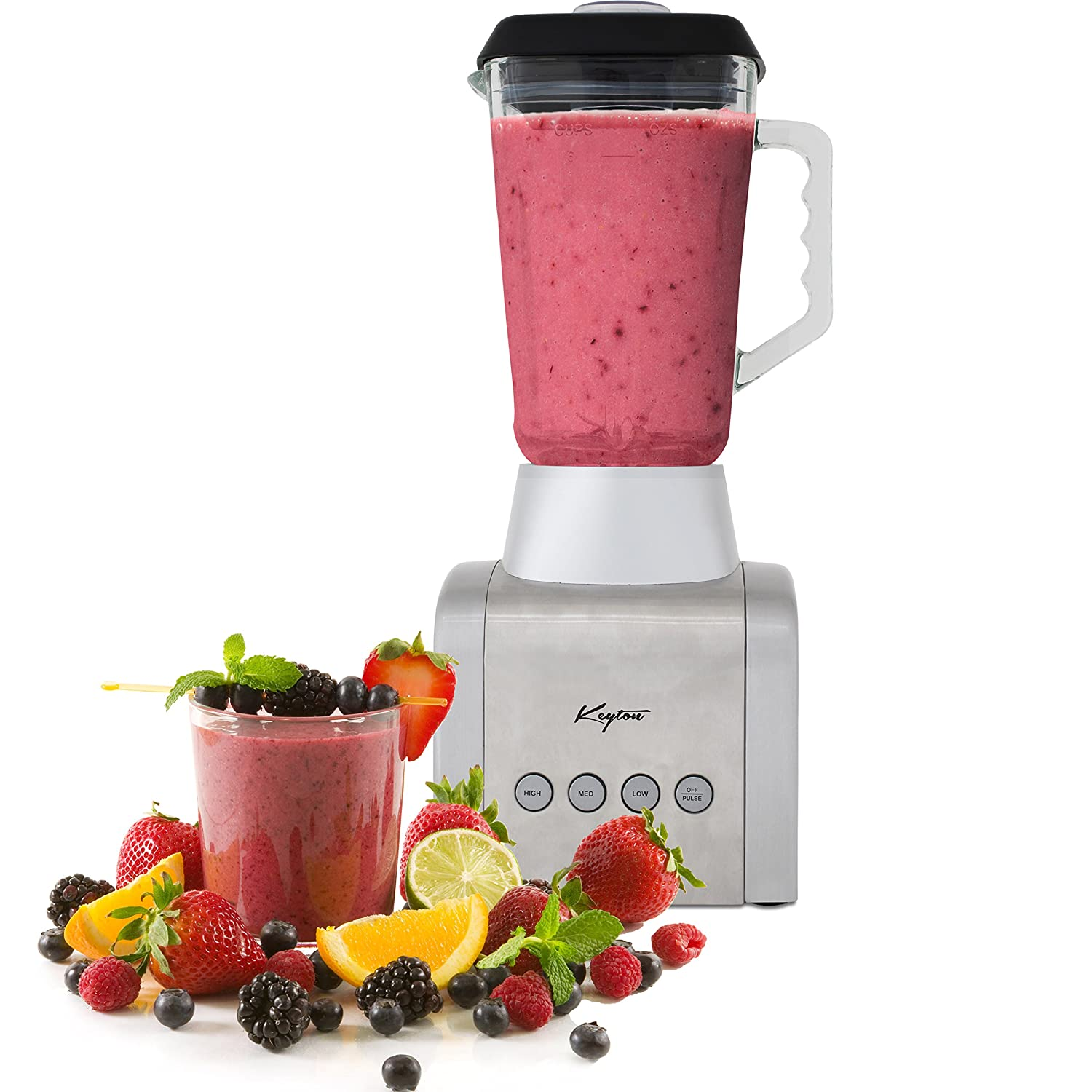 Stainless Steel Countertop Blender - Four Automatic Speed Settings, Stainless Steel Blade & 1.5 Liter Glass Jug- By Keyton BHRS Group (Large Appliances) K2-BLENDERBLK