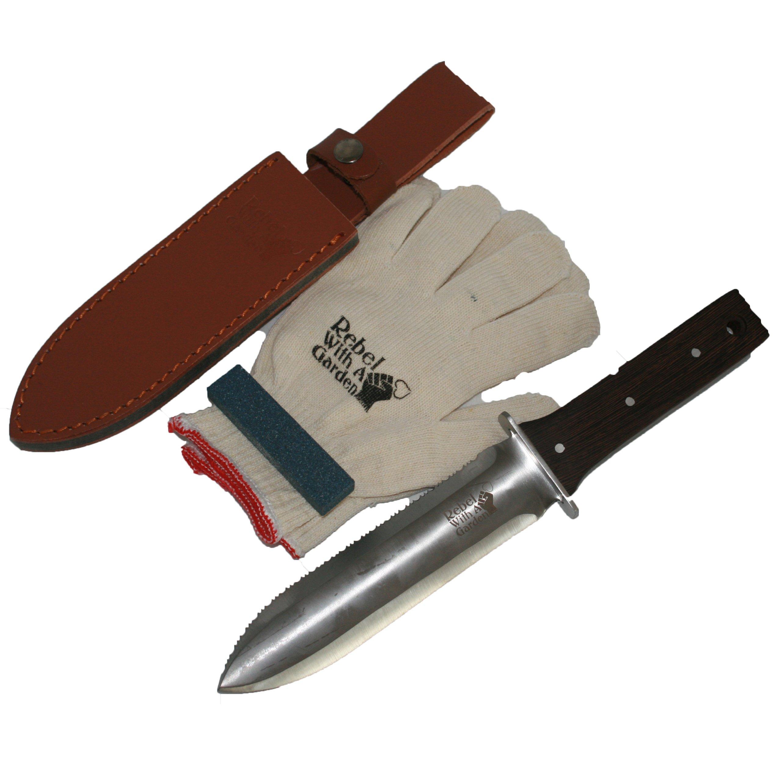 Rebel With A Garden Rebel Garden Samurai Pro Japanese Hori Hori Garden Knife Tool by (Leather Sheath, Whetstone and Cotton garden Gloves)