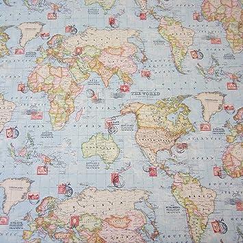 Stoff Meterware Briefmarke Weltkarte Hellblau Neu Landkarte Globus