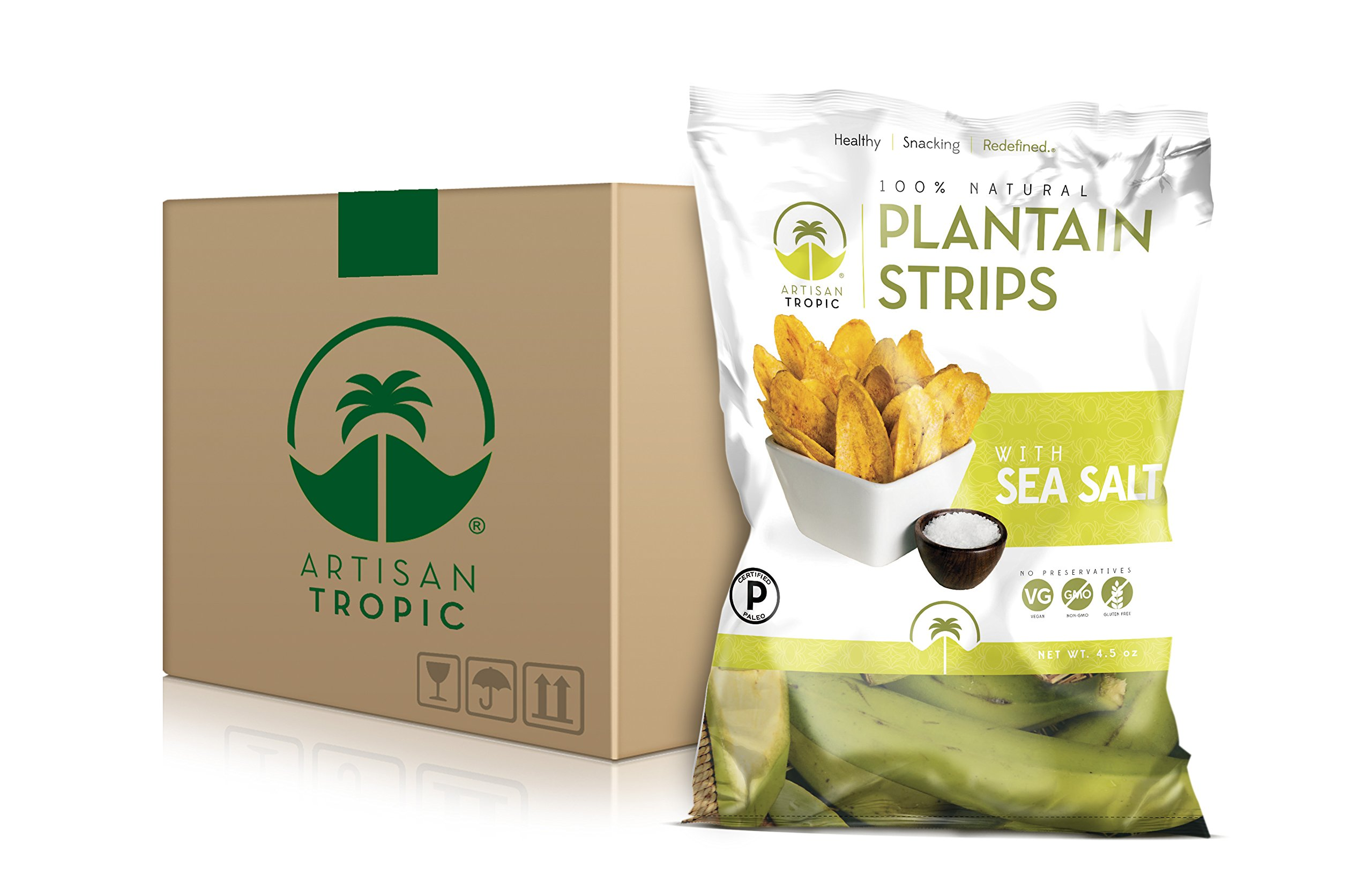 Artisan Tropic Plantain Strips: Sea Salt 4.5oz (12 Pack) by Artisan Tropic