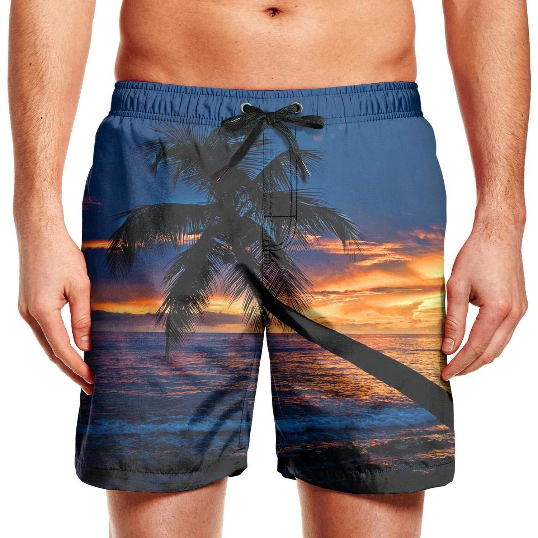Sunset Palm Tree Painting Mens Swimming Trunks Adjustable Swim Shorts for Men Running Beach Shorts