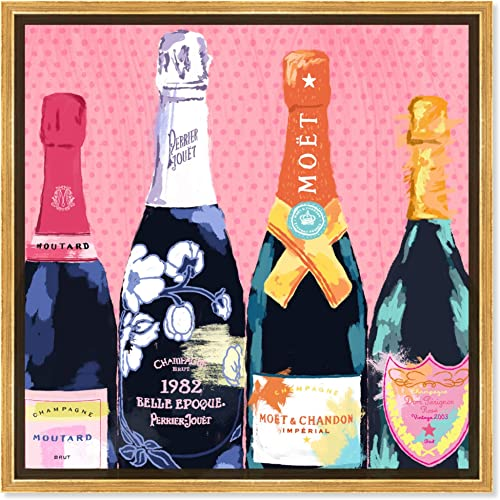 The Oliver Gal Artist Co. Drinks and Spirits Framed Wall Art Canvas Prints 'Pass The Bottle' Champagne Home D cor