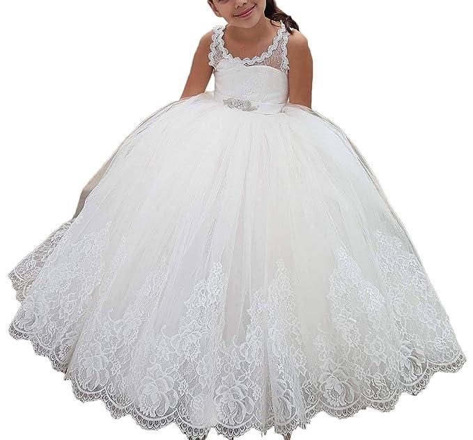 Auxico Vintage Ball vestido de niña de flores vestidos de desfile de niñas vestidos con apliques