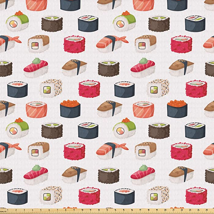 Ambesonne Sushi Fabric by The Yard, Yummy Sushi Rolls Japanese Maki and Nigiri Food Rice and Tuna Traditional Meal, Stretch Knit Fabric for Clothing Sewing and Arts Crafts, 1 Yard, Magenta White