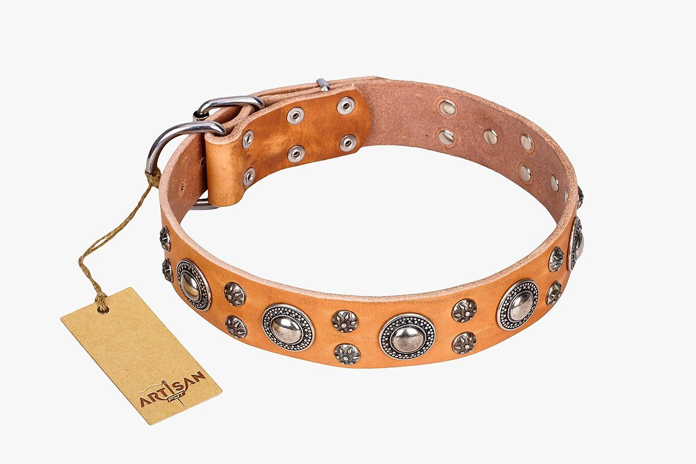 Collare per cane in pelle con decorazioni cromate, colore  Fashion floreale realizzato a mano da artigiano
