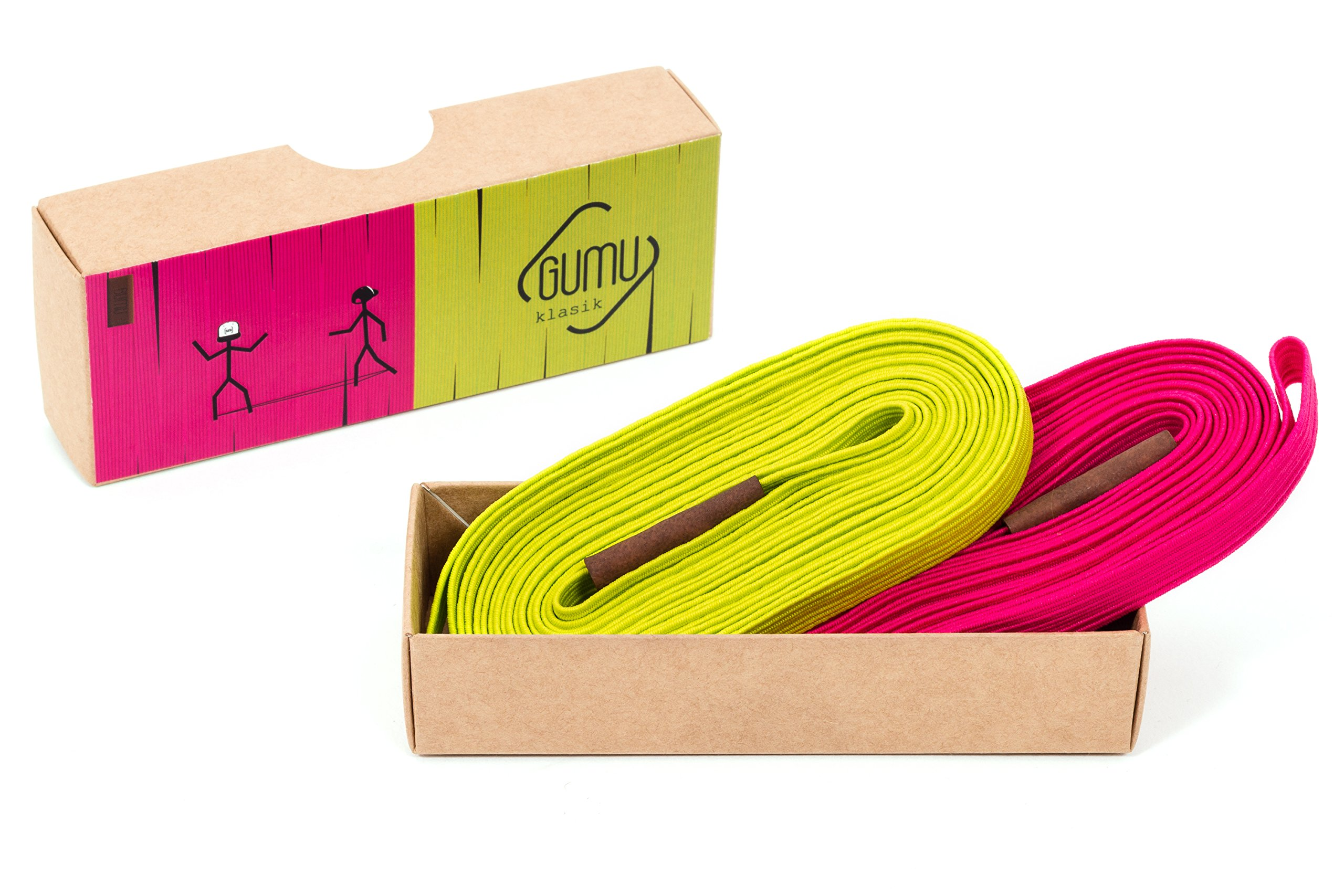GUMU Chinese Jump Rope Klasik – 11 Feet – Pack of 2 Colored Chinese Jump Ropes for Kids and Adults – Durable, Highly Elastic and Non-Slip (gerber + lime)