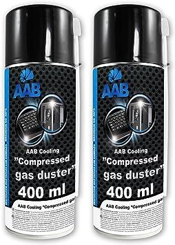 2 x AAB PC Spray Limpiador 400ml para Limpiar Teclados, Ordenadores, Copiadoras, Equipos Eléctricos, Spray Duster, Ideal para la Eliminación de Polvo, ...