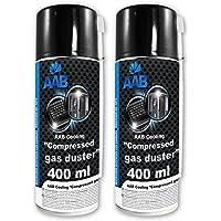 2 x AAB Spray de Aire Comprimido 400ml - Limpiar Teclados, Ordenadores, Copiadoras, Cámaras, Impresoras y Otros Equipos…