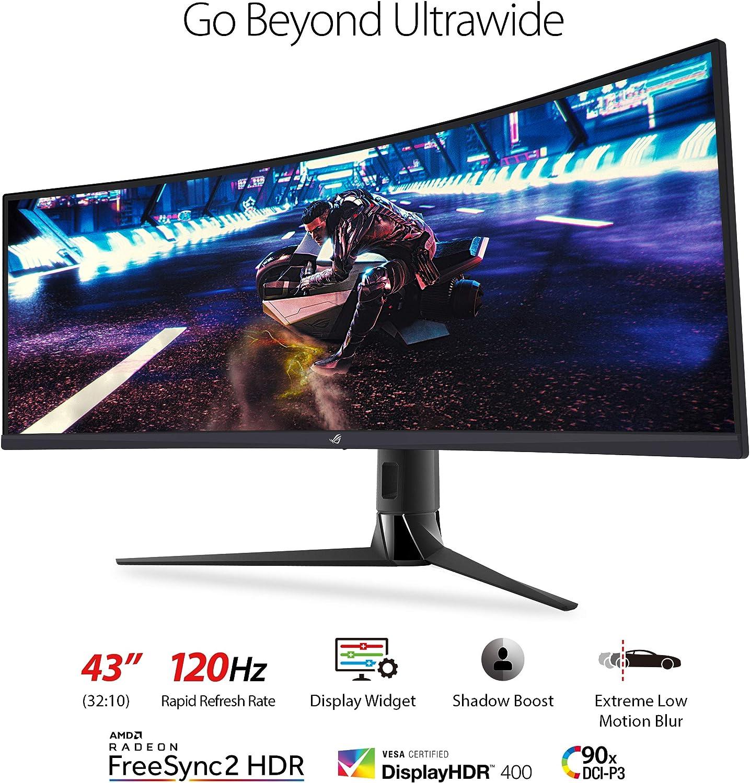 ASUS ROG Strix XG43VQ 43 Monitor de videojuegos HDR ultra ancho 120Hz (3840 x 1200) 1ms FreeSync 2 HDR DisplayHDR 400 90% DCI-P3, NEGRO: Amazon.es: Electrónica