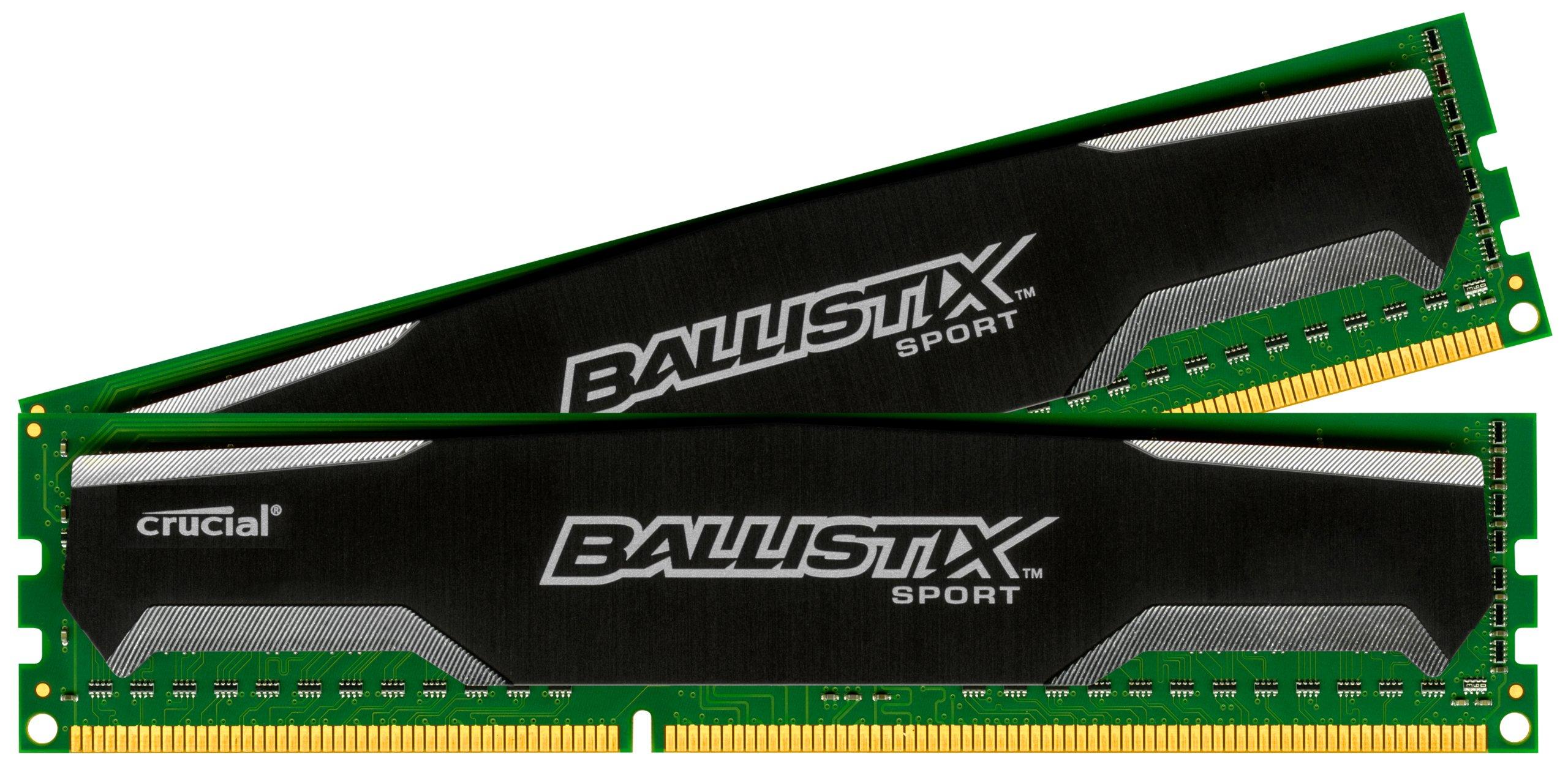 Ballistix Sport 8GB Kit (4GBx2) DDR3 1600 MT/s (PC3-12800) UDIMM 240-Pin Memory - BLS2KIT4G3D1609DS1S00 by Ballistix