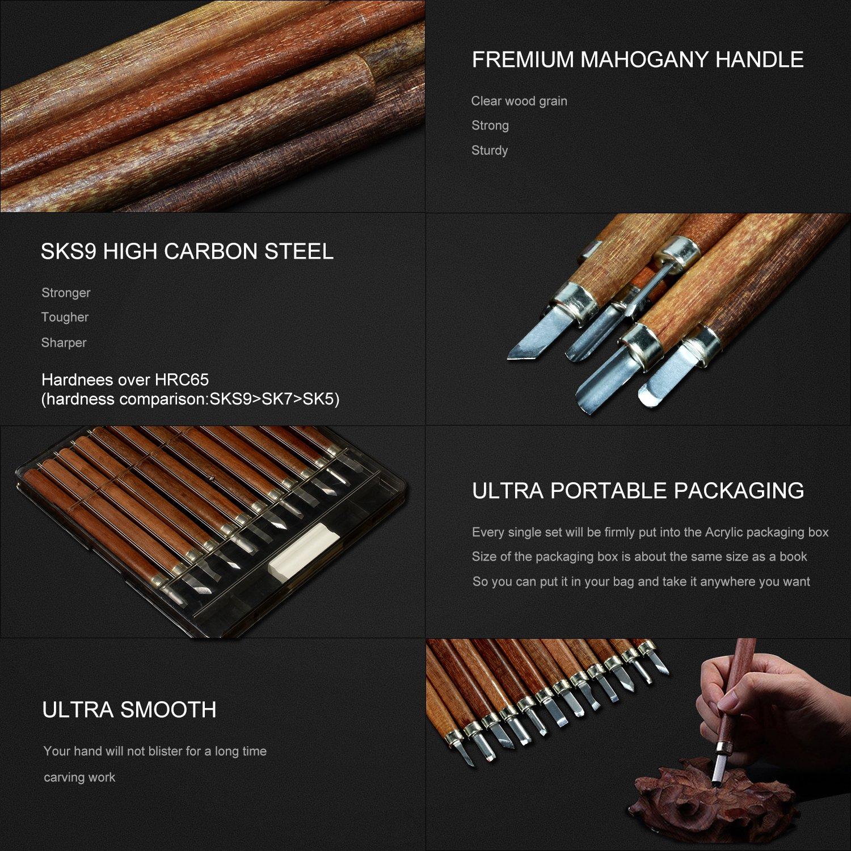Cuchillo JA023 Conjunto de Herramientas de Talla,Super Sharp y Conjunto de Cuchillo de Xilograf/ía de Herramientas Conjunto de Talla Alta Calidad SK7 Carbon Steel