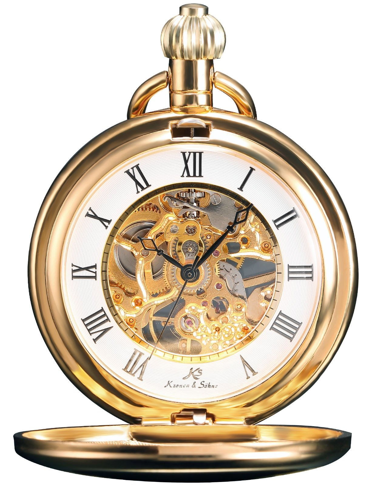 HELMASK pocket watch - Alloy Golden Round mens Analog Mechanical Hand-winding Full hunter Pocket Watch