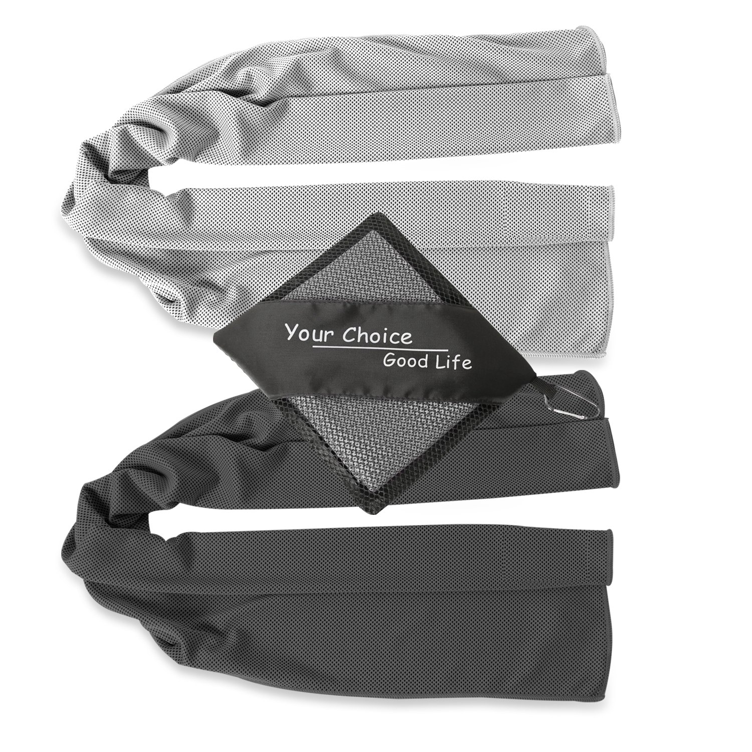 Your Choice Cooling Towels - 2 Pack Cooling Neck Towel for Golf Athletes - Ice Cold Snap Cool Towels - Great Gift for Men Golfers - Gray and Black 12 x 40 Inch