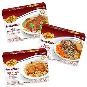 Kosher Mre Meat Meals Ready to Eat, Variety of Beef & Lamb Kabob, Beef Rib Steak, Beef Pepper Steak (3 Pack Bundle) - Prepared Entree Fully Cooked, Shelf Stable Microwave Dinner