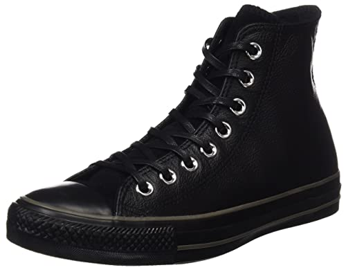 Converse All Star Leather Hi Unisex Scarpe Da Ginnastica in Pelle Nera Nero 3 UK