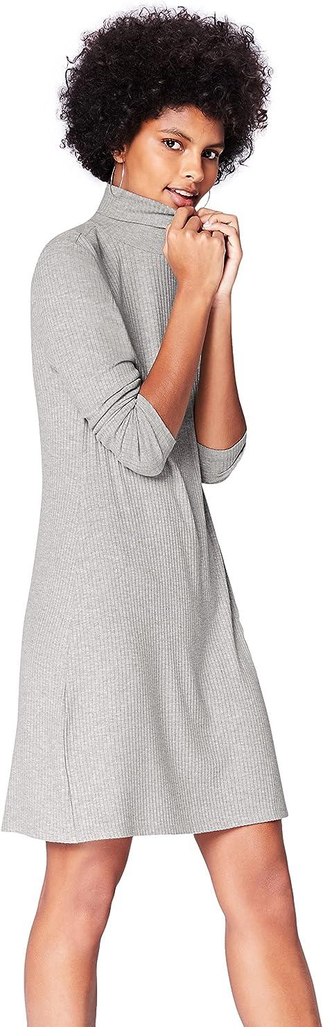 TALLA 38 (Talla del Fabricante: Small). Marca Amazon - find. Vestido de Canalé con Cuello Alto para Mujer Gris 38 (Talla del fabricante: Small)