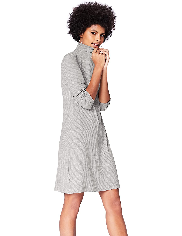 TALLA 42 (Talla del Fabricante: Large). Marca Amazon - find. Vestido de Canalé con Cuello Alto para Mujer Gris 42 (Talla del fabricante: Large)