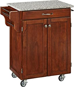 Create-a-Cart Cherry 2 Door Cabinet Kitchen Cart with Salt and Pepper Granite Top by Home Styles