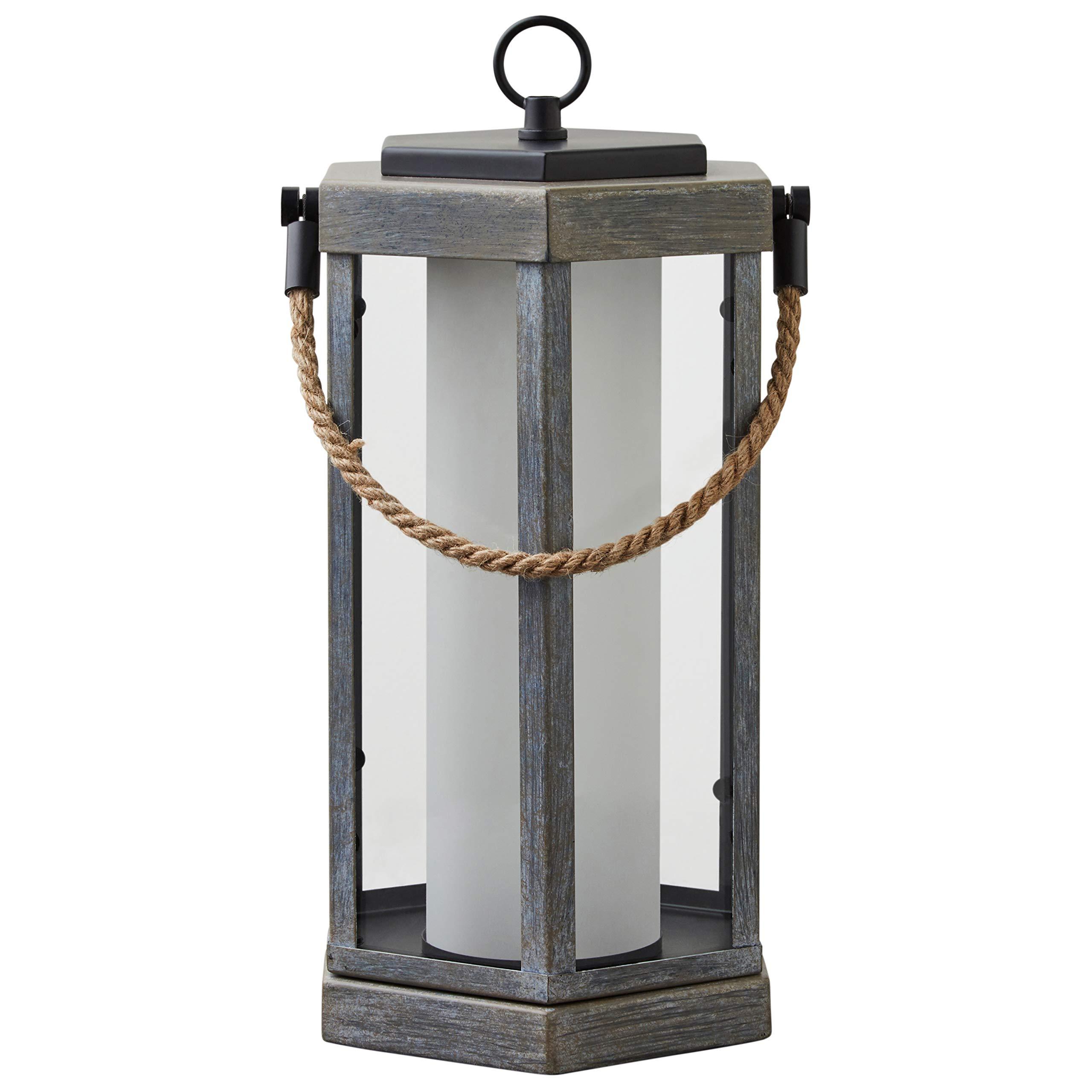 "Amazon Brand – Stone & Beam Rustic Faux Wood Finish Lantern with Bulb, 14""H"