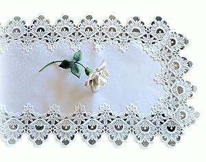 """Lace Dresser Scarf Table Runner White Flower European Doily 36"""""""