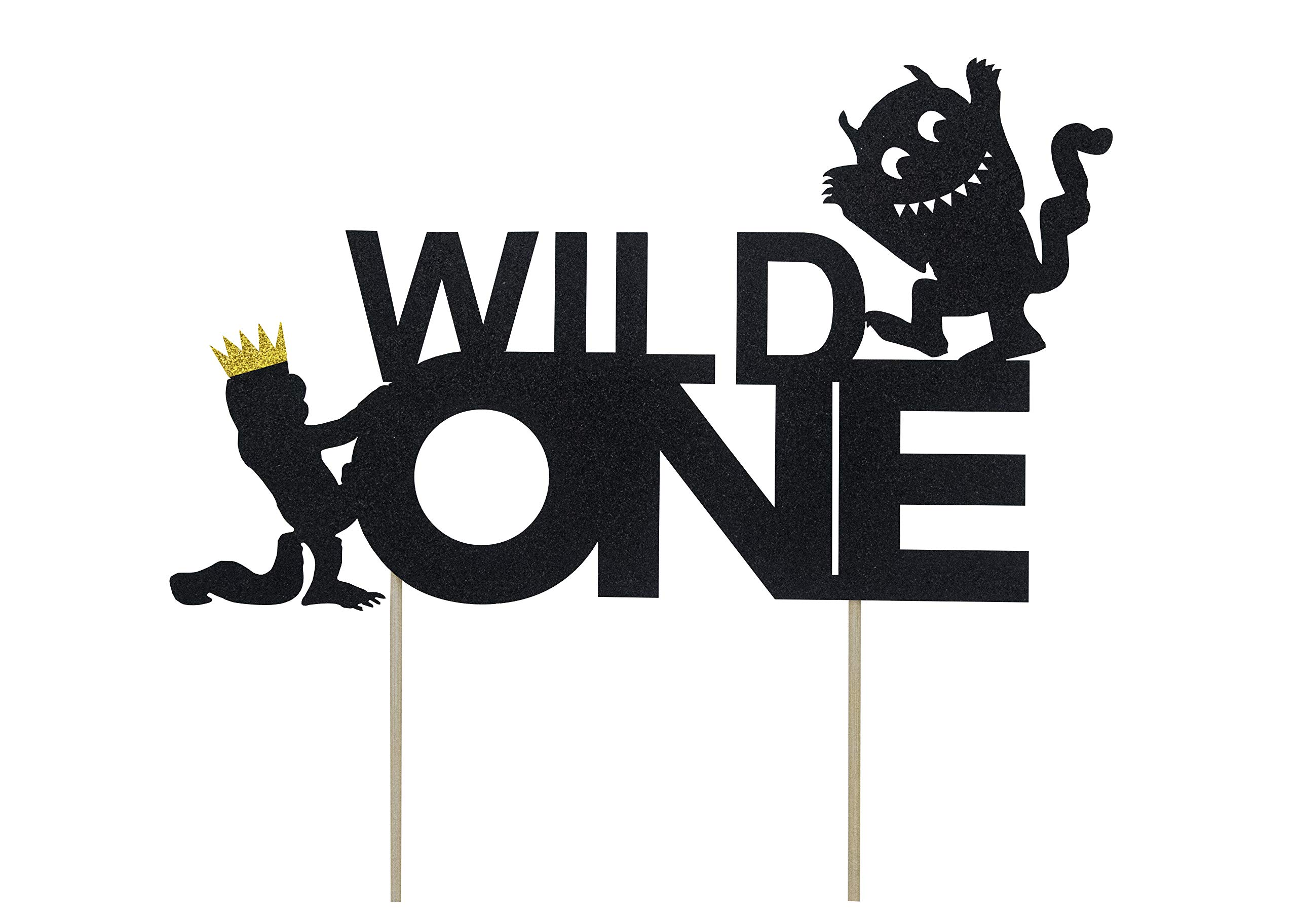 KAPOKKU Wild One Cake Topper,Kids Boy or Girl 1st First Birthday Cake Decorations,Double Sided Handmade Glitter Decorations(where the wild things are cake topper)