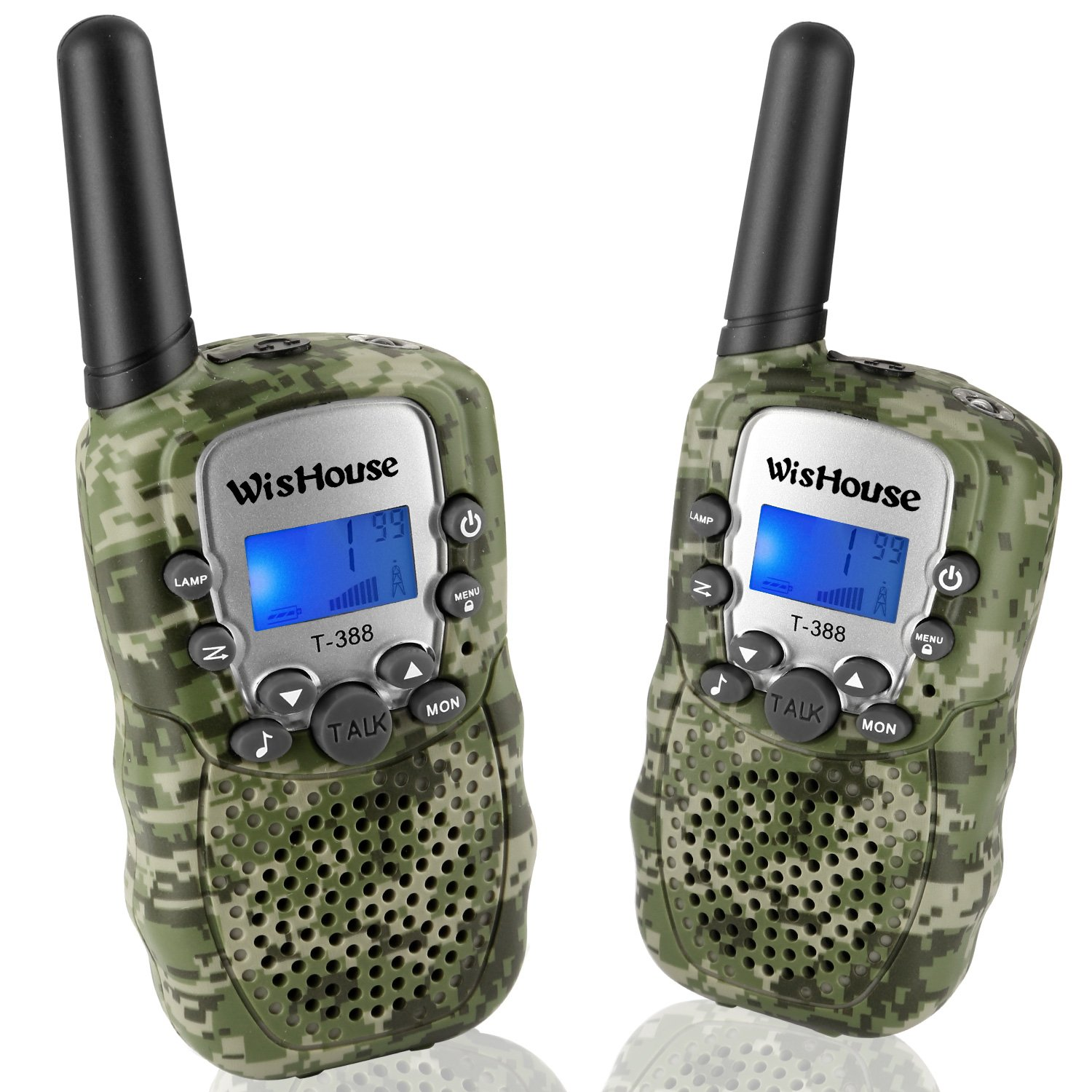 Wishouse Walkie Talkies for Kids,Popular Toys for Boys and Girls Best Handheld Woki Toki with Flashlight,License free Kids Survival Gear for Hunting and Outdoor Adventure(T388 Camouflage 2 Pack) by Wishouse (Image #1)