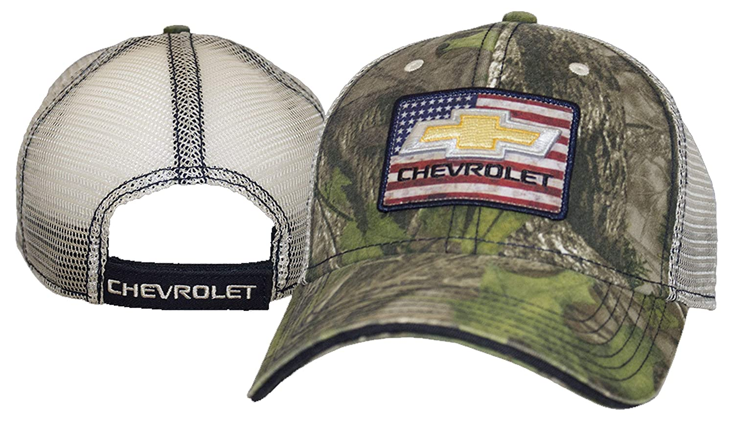 Bundle with Driving Style Decal CH-2204 Gregs Automotive Chevrolet USA Flag Hat Cap Camo Camouflage