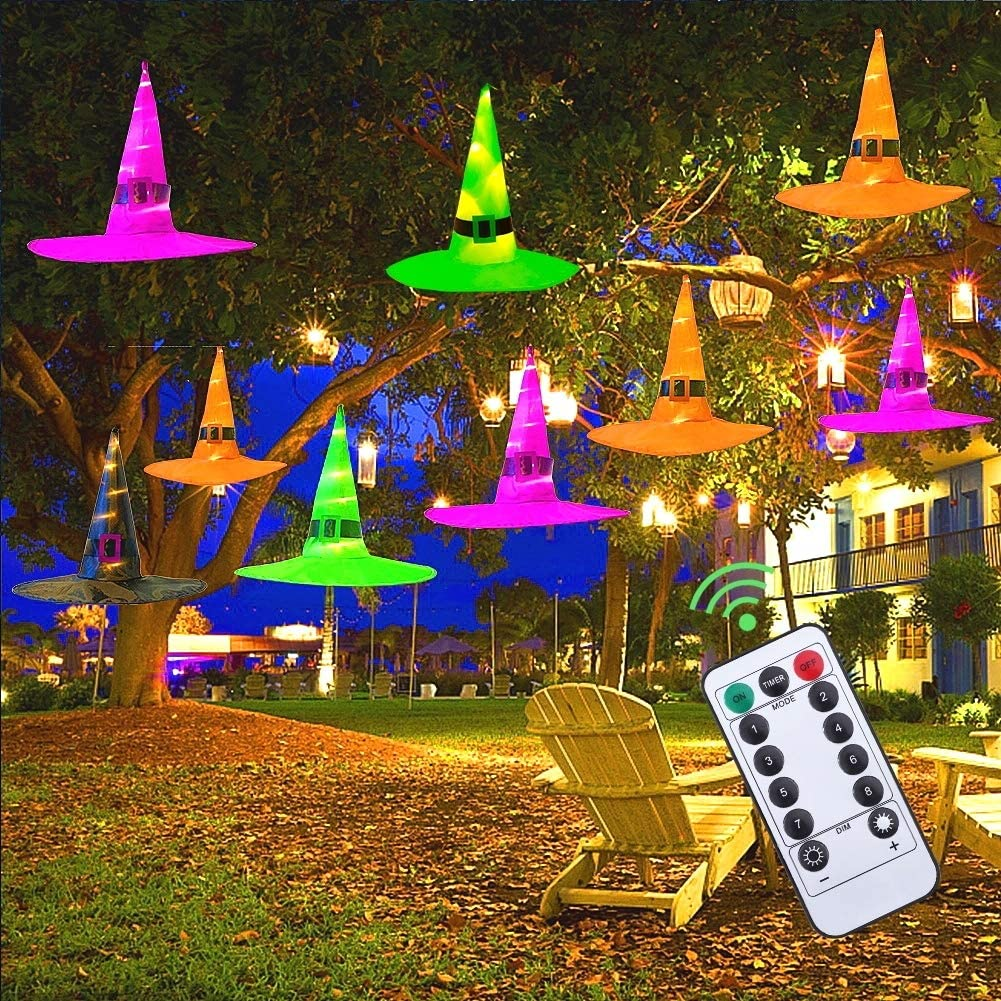 MAOYUE Halloween Decorations Outdoor 9Pcs Hanging Lighted Witch Hat Decorations 36ft Halloween Lights Remote Control Halloween Decor with Timer for