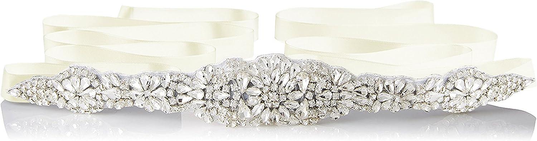E-Clover Bridal Crystal Rhinestone Wedding Dress Sash Belt With Ribbon