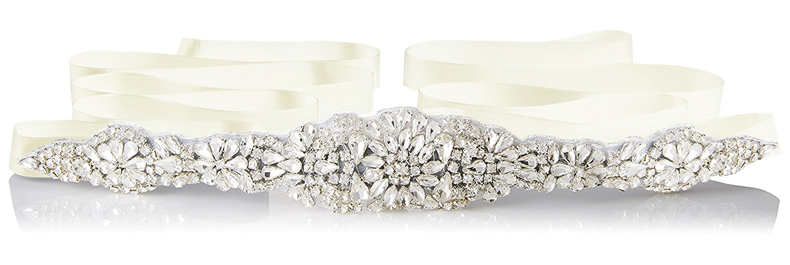 E-Clover Bridal Crystal Rhinestone Wedding Dress Sash Belt With Ribbon (Ivory)