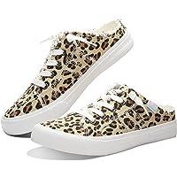 Obtaom Women Canvas Mules Memory Foam Clipper Fashion Sneakers Comfortable Slip-On Mule Backless Shoe