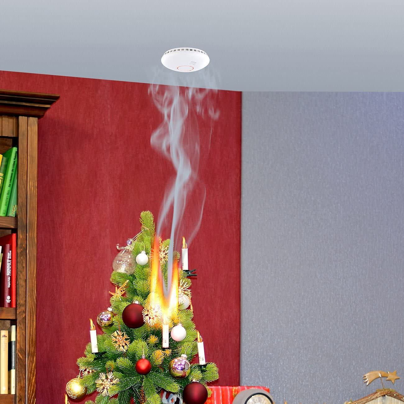 Radio in rete Rivelatori di Fumo Ottico con telecomando protezione fuoco secondo DIN 14604