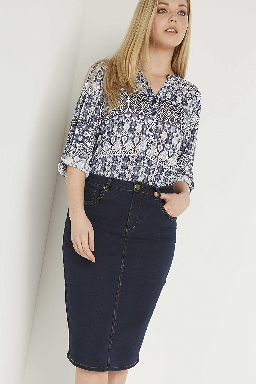 a6fb535922 Roman Originals Women's Skirt Denim Jeans Knee Length Pencil - Ladies Midi  Skirts - Indigo Blue - Indigo - Size 20: Amazon.co.uk: Clothing