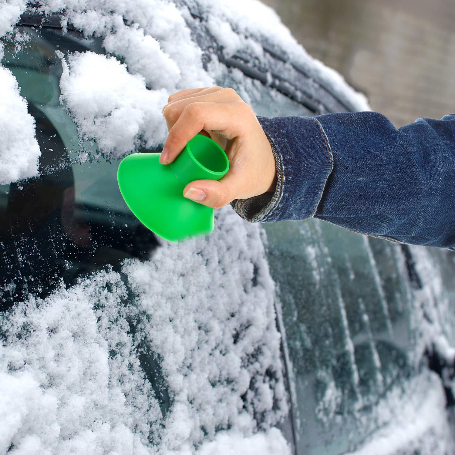 Car Window Windshield Cone Shaped Shovel Tool 2 Size Funnel Scraper with Ice Breakers for Car Supplies Blue and Green 2 Sets Round Ice Scraper